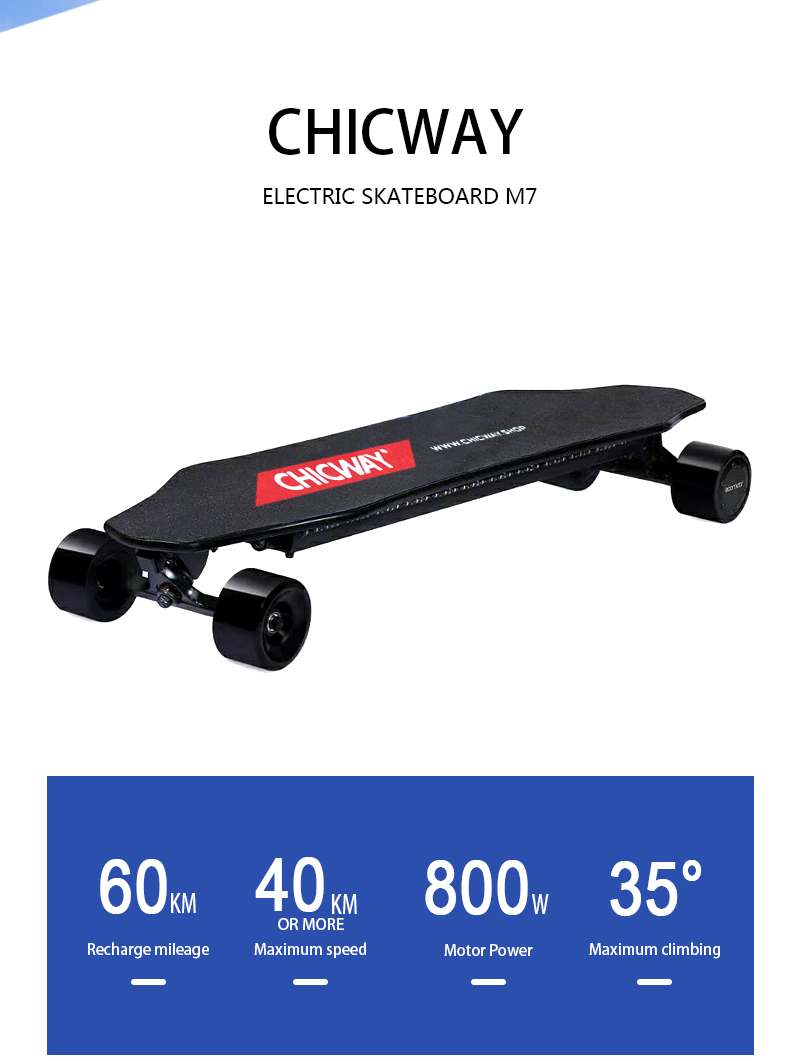 Four-wheel electric skateboard CHICWAY M7 lightweight,double drive,imported board,adult travel tools,four-wheeled <font><b>scooter</b></font> image