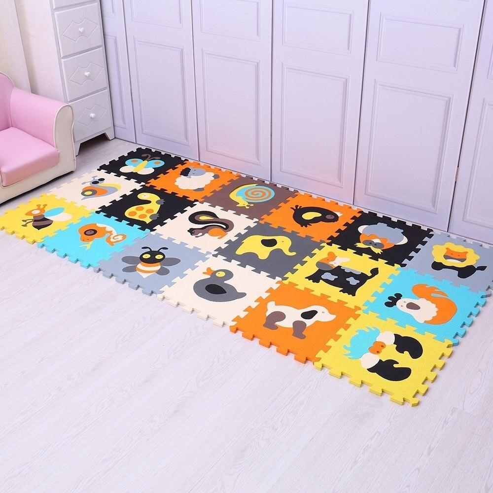 18 шт., красочный детский коврик-пазл с изображением животных из пены, коврик с разделенным соединением из материала EVA, игровой коврик для по...