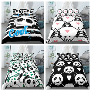 Lovely Panda Printed Bedding Set 3d Digital Printing Duvet Cover Pillowcase for Teen Kids Single Queen King Size Bed Sets 2/3pcs