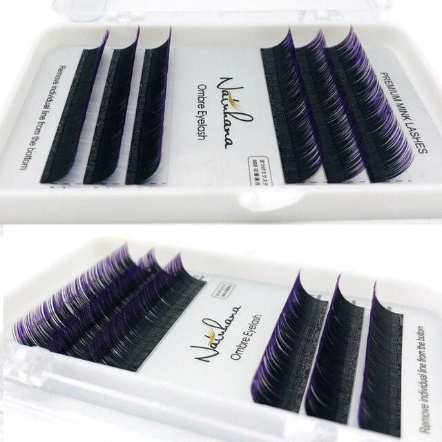 NATUHANA 6Rows Ombre Color Eyelash Extension Individual Faux Mink Lash False Gradients Eyelashes Professional Salon Makeup tools 1