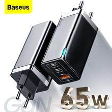 Baseus GaN 65W ładowarka USB C szybkie ładowanie 4 0 3 0 QC4 0 QC PD3 0 PD USB-C typ C szybka ładowarka USB dla iPhone 12 Pro Max Macbook tanie tanio ROHS Adaptacyjne szybkie ładowanie Samsung FCP firmy Huawei USB PD BC1 2 Szybkie ładowanie Qualcomm Szybkie ładowanie Huawei