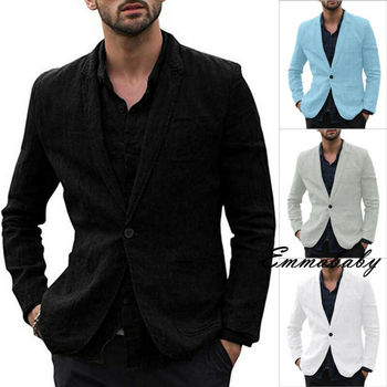 Fashion Cotton linen Single breasted Summer Linen Suit Men's Slim Fit Peaked Lapel Groom Comfort Business Blazer 2019 New