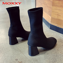 2019 Fashion Ladies Stretch Sock Boots Women Platform Black Ankle Boots Autumn Sexy Chunky High Heels Boots Women Shoes mujer