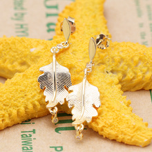 Original 925 Sterling Silver Plated Gold Oak Leaf Earrings Creative Gold Leaf Earrings Pan Earring For Women Gift  Jewelry double r brand new jewelry earrings for women hot sale yellow gold plated 925 sterling silver drop earrings case04266sc 2