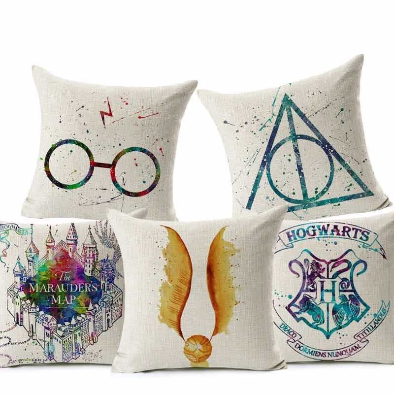 Cross-Border-2019 New Style Harry Potter Cotton Linen Goblet Pillow Cover-Style Minimalist Pillow Cover