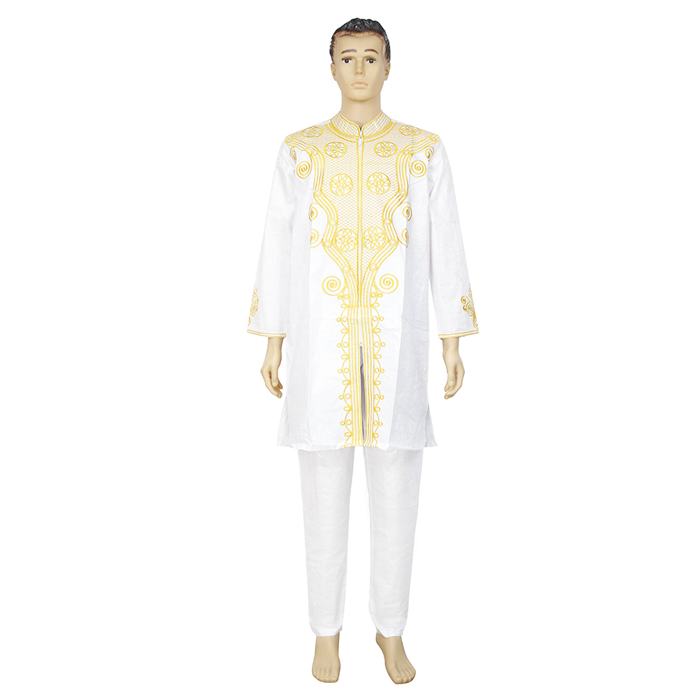 MD Men's Tops Pants Set 2 Pieces Outfit Suit Mens African Clothing Bazin Africa Clothes For Men 2021 Dashiki Shirt With Trouser