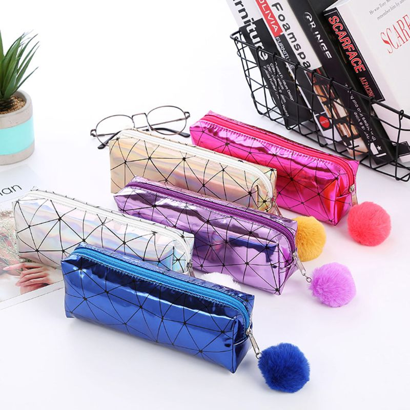 Holographic Iridescent Laser Pencil Case For Girls Cute Pencil Box Hairball Pencil Bag School Supplies Stationery