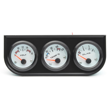 Black Triple Gauge Volt Panel Pressure Amp Auto Voltmeter Water Oil Chrome