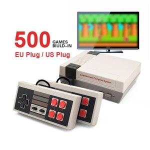 Image 1 - Мини ТВ Видео игровая консоль портативная для семейного отдыха Игра Двойной геймпад AV порт встроенные 500 классических игр Ретро игровой плеер