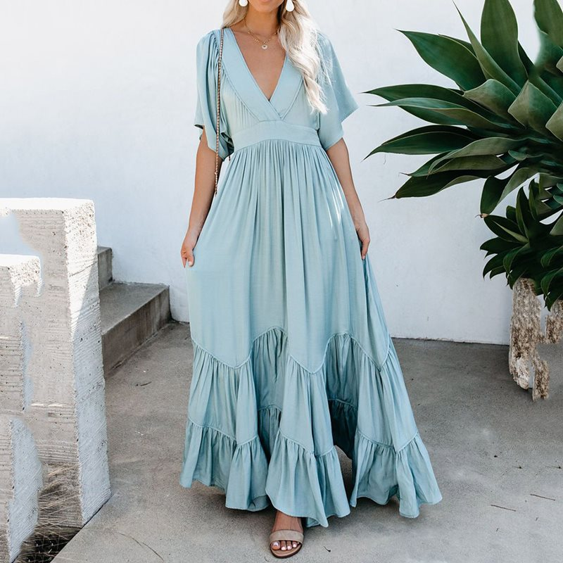 A Line Maxi Dress Women Vintage Bohemian Summer V-Neck Long Dress Casual Praty Dresses Beach Dresses Ladies Long Vestido Mujer