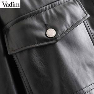 Image 4 - Vadim women chic black PU leather blouse pocket decorate long sleeve turn down collar shirt female stylish casual tops LB573