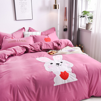 Pink Bedding Set Luxury Bed Sheet Quilt Cover Pillowcase Family Set Cartoon Pattern Bed Linen Queen King Super King Size Bed Set