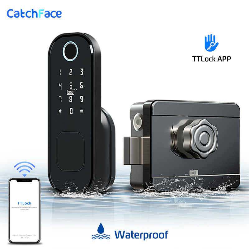 Bluetooth Fingerprint Door Lock  Waterproof Outdoor Gate Lock TTlock Wifi Passcode Rfid Card Keyless Front Electronic Lock Alexa