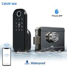 指紋ドアロック防水屋外ゲートbluetoothロックttロックアプリパスコードrfidカードキーレスフロント電子ロック