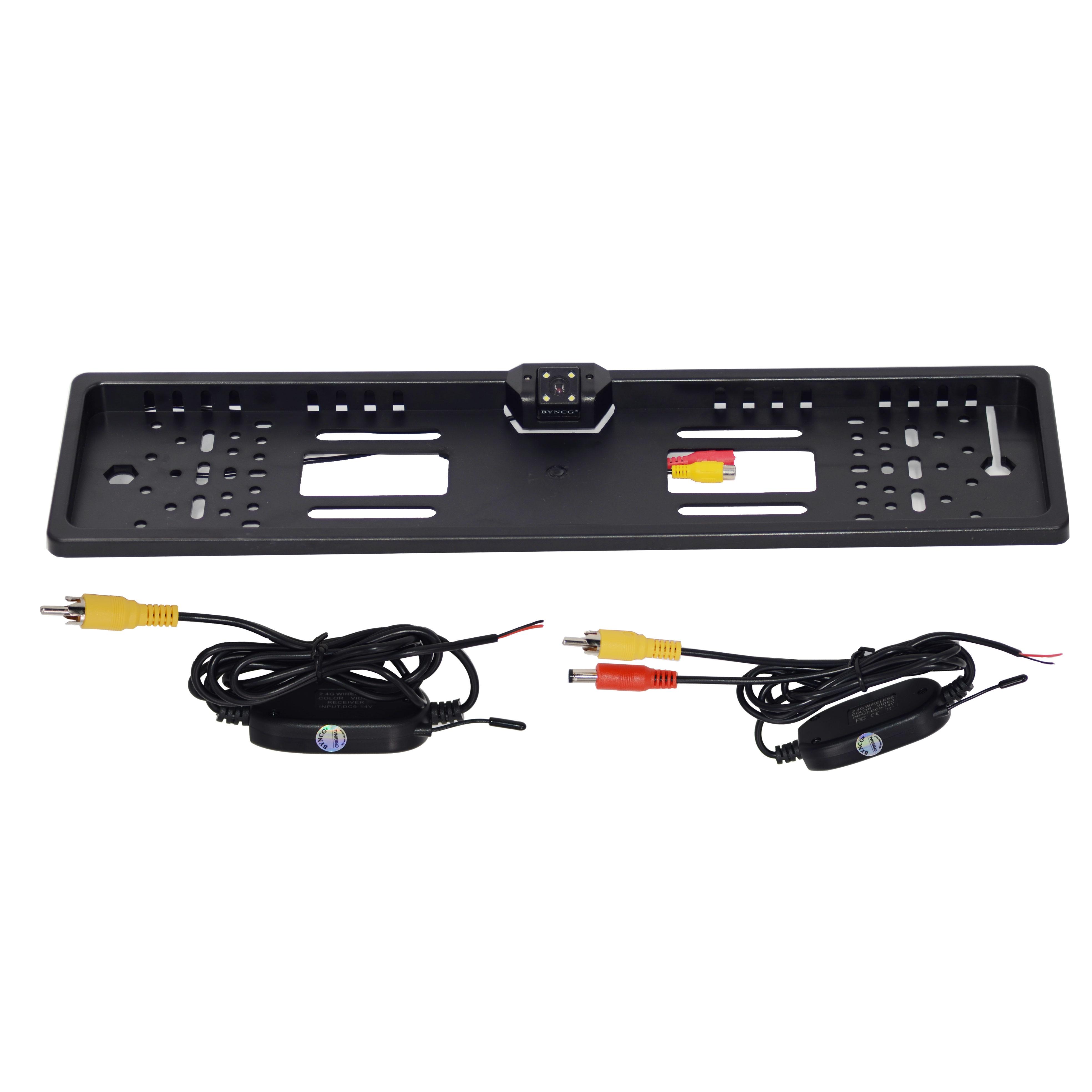 Беспроводная камера ночного видения IR заднего вида, ЕС, рамка для номерного знака, Автомобильная камера заднего вида, водонепроницаемая камера заднего вида для монитора, gps - Название цвета: cam and wireless kit