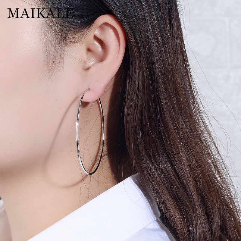 MAIKALE Classic Hoop Earrings Big Plated Gold Silver Color Round earrings Simple Korean Earrings For Women To Send Friend Gifts