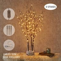 3Pack Pre Lit Artificial Brown Twig Branch with Fairy Lights 150LED Plug in Lighted Willow Branch for Christmas Indoor Outdoor