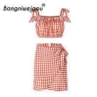 Bangniweigou Gingham Tops Dress Set Women Square Neck Spaghetti Strap Top Zip Up Bow Dress Plaid Two Pieces Crop Top Dress Sets