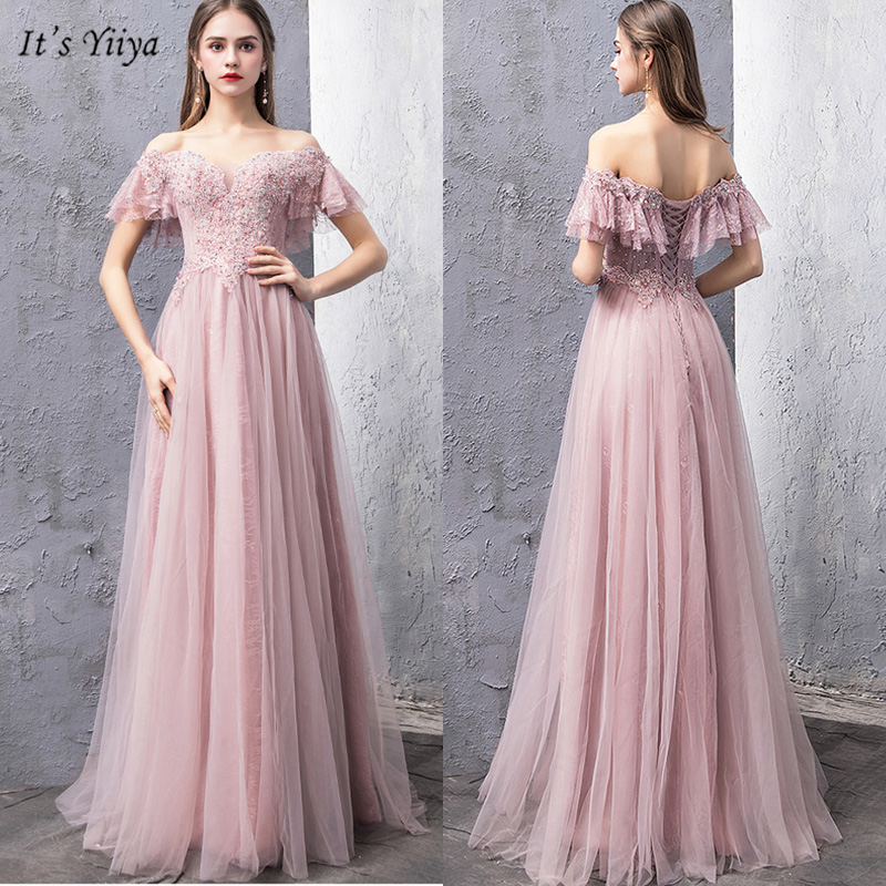 It's Yiiya Evening Dress Boat Neck Short Sleeve Women Party Dresses Appliques Off Shoulder Floor-Length Robe De Soiree V166