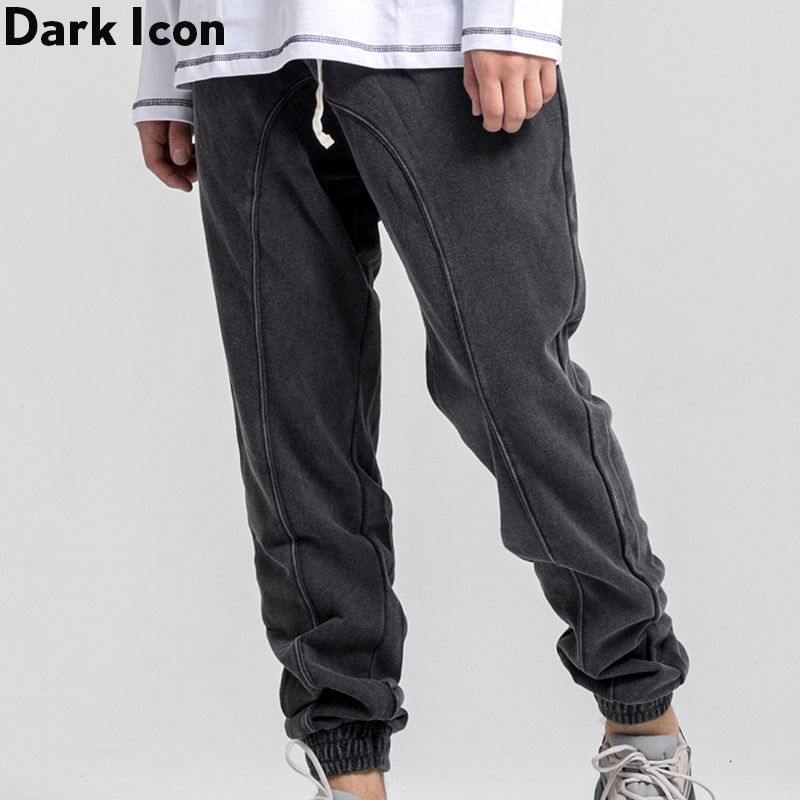 Dark Icon Washing Cotton Solid Color Sweatpants Men High Street Men's Harem Pants Jogging Pants Man