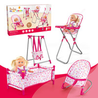 Kid's Four in one Foldable Baby High footed Dining Chair Toy Swing Seat Cart Sleeping Bed with Dolls Doll Bed Doll Stroller