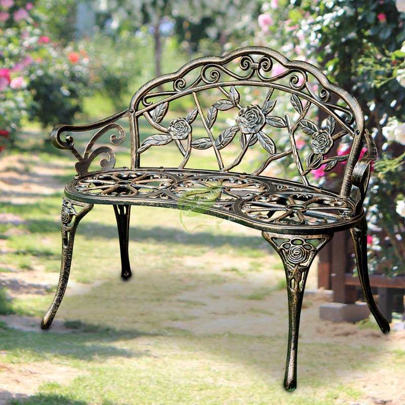 Beautiful Park Chair Outdoor Bench Leisure Bench Anti-corrosion Iron Chair Seat Back Garden Outdoor Balcony Double Chair