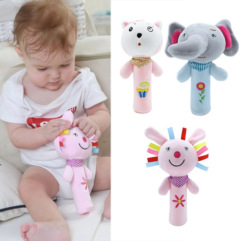 Newborn Baby Cute Soft Hand Grasping Toys Infant Cartoon Animal Bell Rattles Educational Soft Security Blanket Sleep Toy