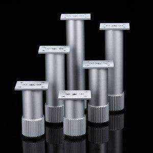 Image 4 - 4Pcs Hoogte Verstelbare Metalen Meubelen Benen Aluminium Coffe Tafel Benen Zilver Voor Sofa Tv Kast Voet Meubels Hardware