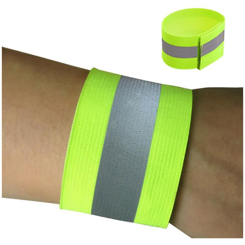 2pcs Reflective Safe Band Strap Wrist Leg Ankle Fluorescent Green Warning Belt Night Running Cycling Jogging Wristband
