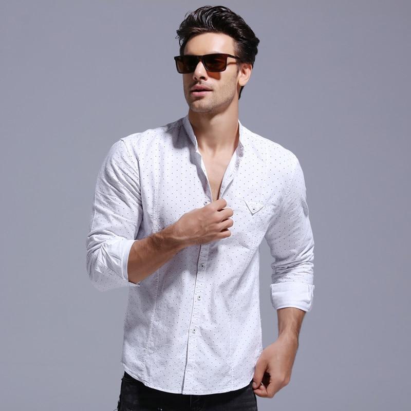 2020 Brand Quality Factory Clearance 100% Cotton Dot Print Shirt Men Stand Colar Social Business Mens Dress Shirts Long Sleeve