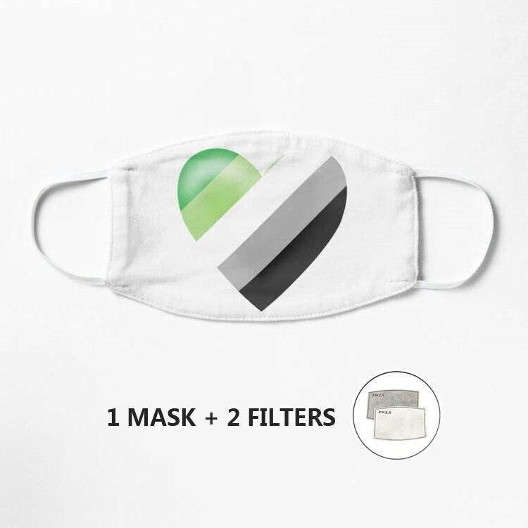 Маска Aromantic с цветным сердцем 7, многоразовая моющаяся маска унисекс для лица, половинная маска для лица, забавный фильтр для защиты лица