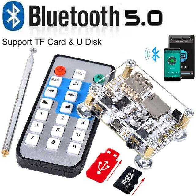 Módulo adaptador de Audio y receptor Bluetooth 5,0, transmisor de altavoz con cable, compatible con tarjeta TF de disco U, Control de aplicación AUX de 3,5mm