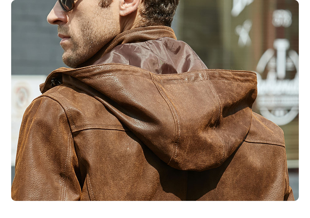 H77a23f90f9f846e58ca6a6a04a357408Y New Men's Winter Jacket Made Of Genuine Pigskin Leather With A Hood, Pigskin Motorcycle Jacket, Natural Leather Jacket