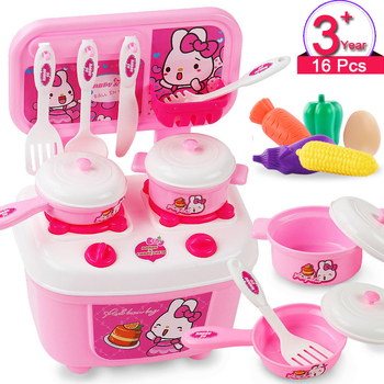 Children Miniature Kitchen Toys Set 3-10 Years Old Boys Girls Cooking Utensils Tableware Pretend Play Simulation Food Cookware 1