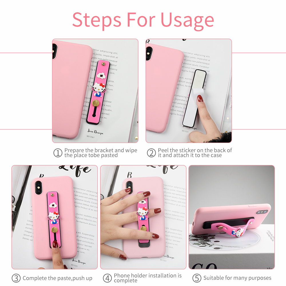Universal Phone Socket Stand Bracket Push And Pull Stand Stretch Grip Phone Holder Finger Cute Cartoon Stand For Iphone Huawei