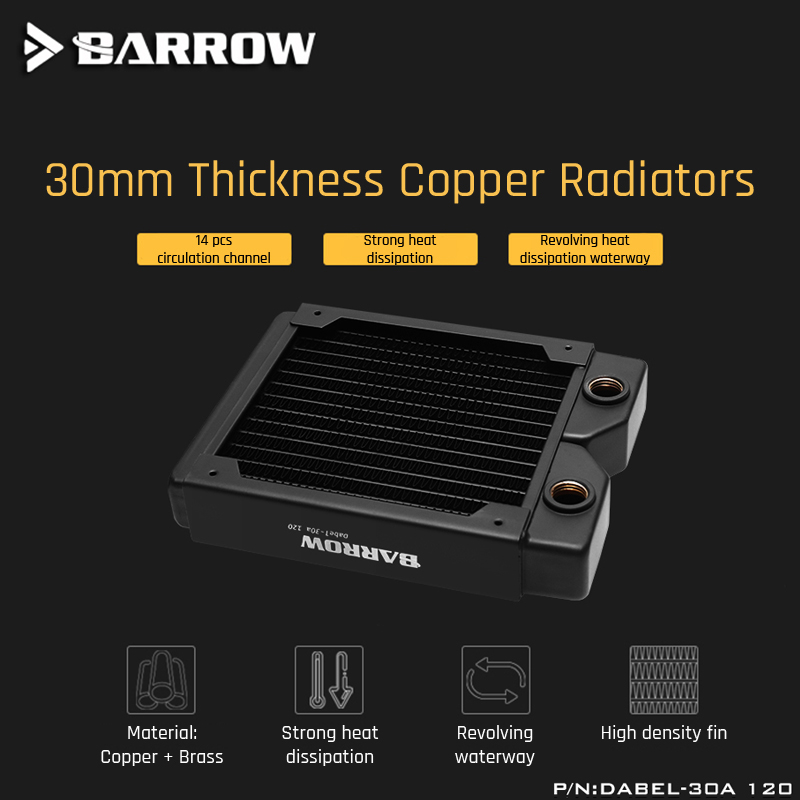 Barrow Dabel-30a 120 Copper Radiator 30mm Thickness 14pcs Circulation Channel Suitable For 120mm Fans