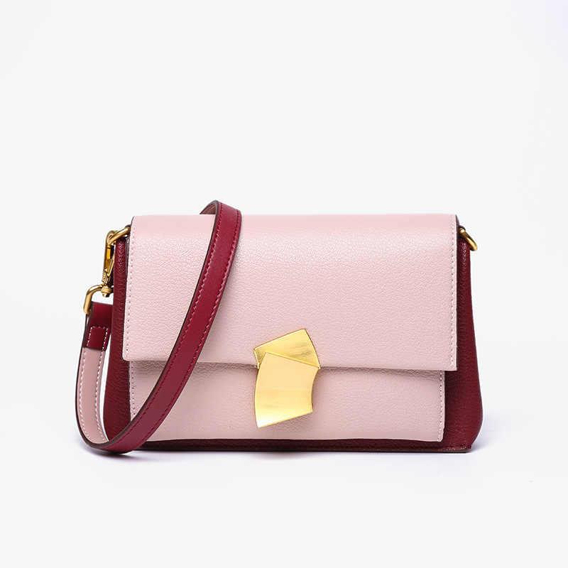 2019 yeni moda hakiki deri kadın postacı çantası ünlü markalar inek derisi küçük çanta çanta bayanlar omuzdan askili çanta pembe/siyah