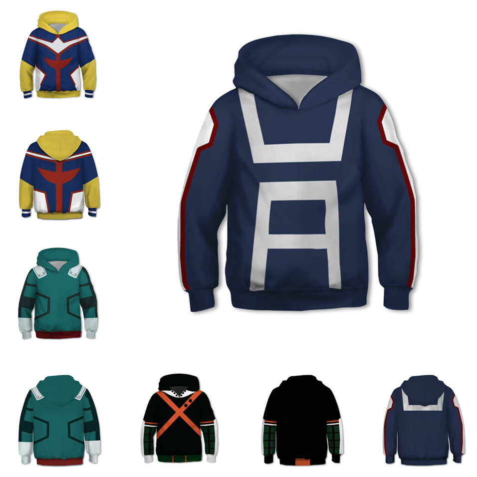 Kids Anime Sweatshirts Hoodies 3D My Hero Academia Cosplay Costume College Clothing Top New