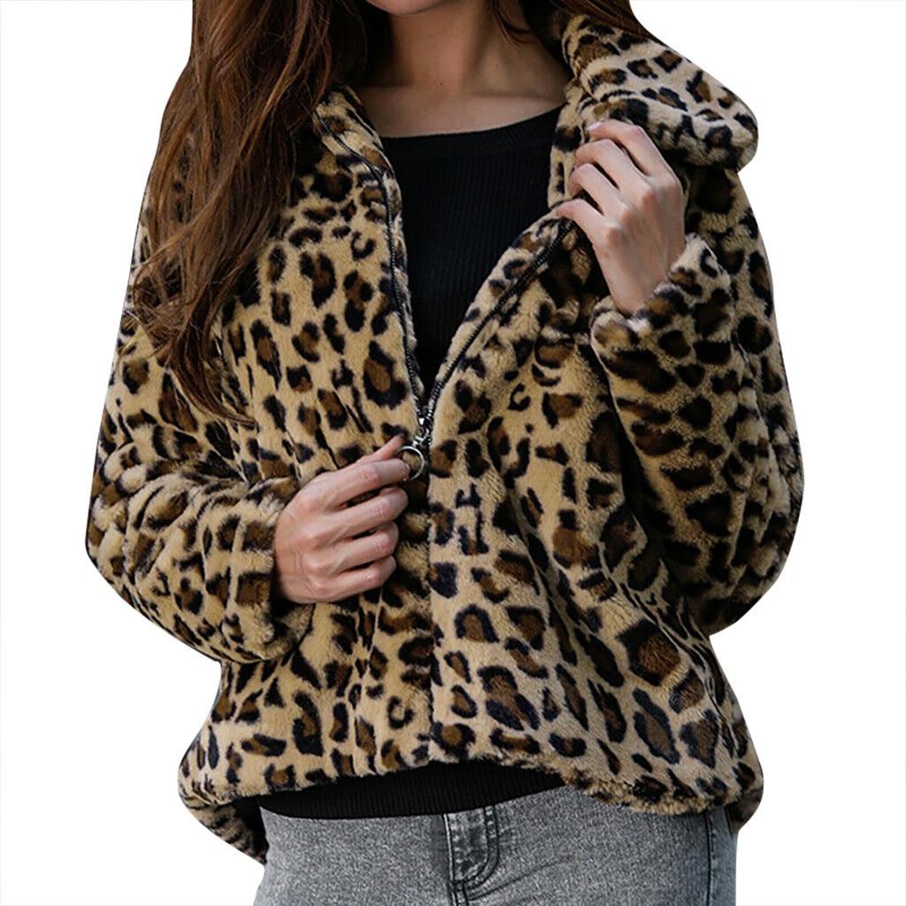 2019 Autumn Winter Women   Basic     Jacket   Coat Female Fashion Women Leopard Print Long Sleeve Coats Vintage Outwear Cardigan Tops