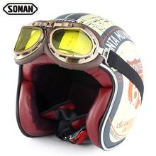 Soman New Motorcycle Helmet Open Face PU Leather Vintage Style cascos para moto motorcycle german helmet with goggles capacete
