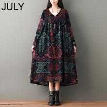 Oversized Summer Dress for Women Retro Pattern Print Long Sleeve Baggy Cotton Linen robe femme Vintage Midi m-xxl