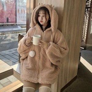 Image 5 - Elegante Faux Fur Hoodie Jas Vrouwen Herfst Winter Warm Soft Bont Rits Hoodies Pocket Leuke Konijnenoren Pluche Hoodies Sweatshirt