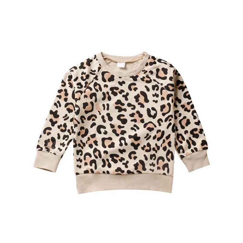 Tops Sweatshirt Pullover Toddler Baby-Girl-Boy Kids Autumn Leopard Casual Long-Sleeve