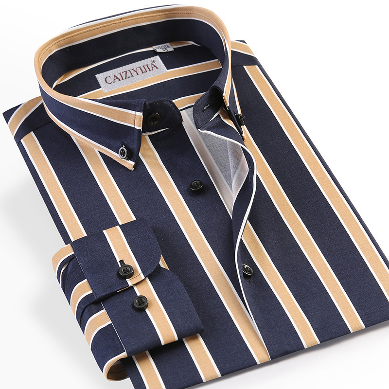 Holiday Casual Standard-fit Multi-Color Striped Dress Shirt Pocket-less Design Comfortable Long Sleeve Button-down Man Shirts