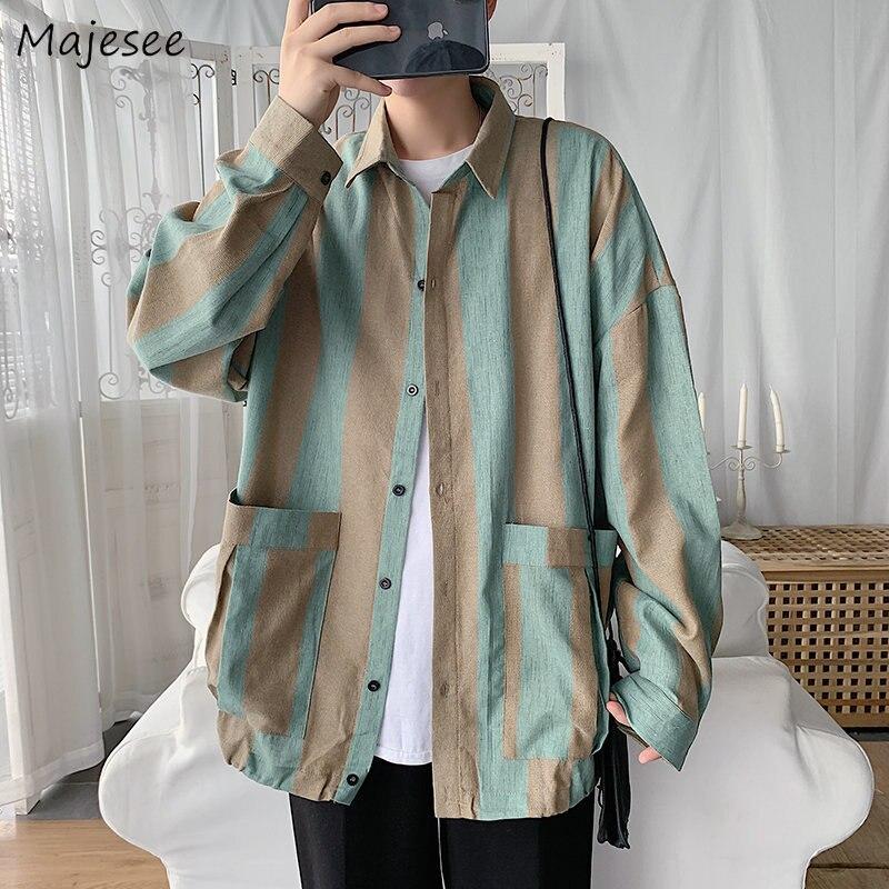 Men Shirts Printed Harajuku All-match Long Sleeve Retro Loose Korean Style Pocket Student Chic Trendy Leisure Ulzzang New Casual