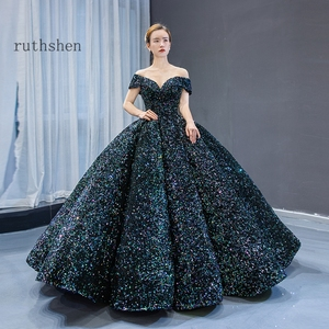 Image 3 - Dreamy Sequin Evening Dresses Long Off Shoulder Fluffy Luxury Princess Formal Party Prom Dress
