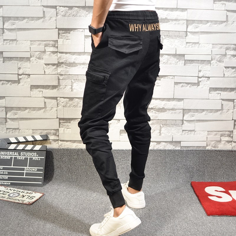 New Arrival Pants Fashion Embroidery Casual Pants Men Slim Fit Jogger Pencil Trousers Elastic Waist Solid Black Clothes Male