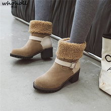 Plus Size 32-43 Dropship 2019 Add Plush Warm Russia Winter Boots Women Shoes Chunky Heel Woman Ankle