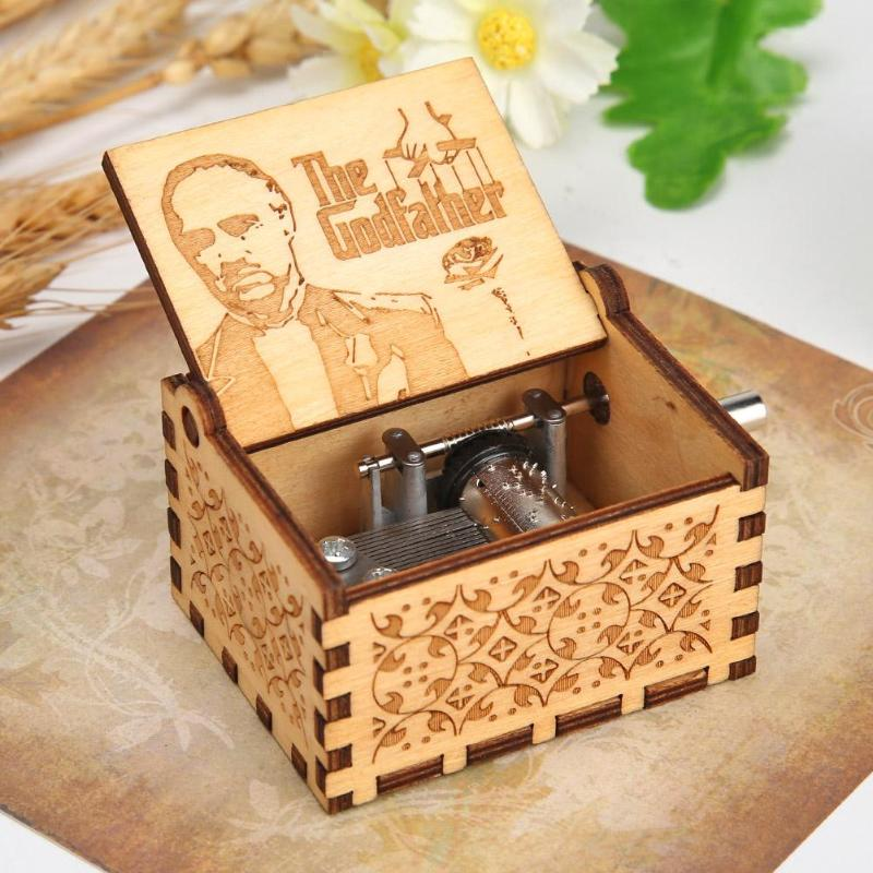 Retro Carved Hand-Cranked Music Box Durable Wooden Manual Child Birthday Gifts Crafts Home Bedroom Decoration Supplies