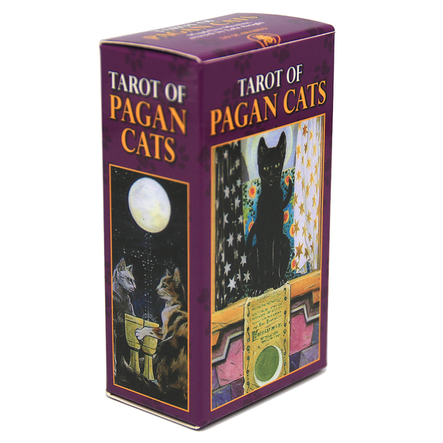 Tarot of Pagan Cats Cards 78 Full-Color Cards Mini Deck Five Languages English Spanish Tarot Divination Beginner Toy Game 1